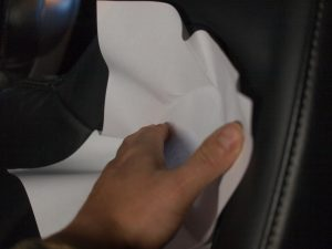 Place a paper and press along the edge with nail to get the shape copied