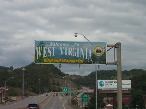 The first state line to cross, West Virginia.