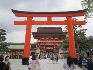 The To-ri-i Gate of the Shrine.  In japan, there are Shrines and Temples.  Shrine (Jinja) for the Shintoism (Japanese native religion), and Temples (Tera) for buddhism.