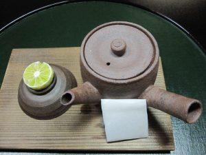Dobin-Mushi is a soup dish cooked in Dobin (Teapot).