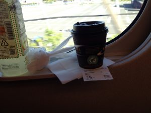 Once i the train, lady pushes a cart-full of snacks, lunch boxes, and drinks.  She bows when she come in to cabin and leave the cabin.  very polite.  BUT  EXPENSIVE!!!!  this tiny cup of coffee cost us $3.00!!!!
