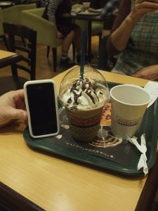 We couldn't afford such an expensive donut (JK), we got a coffee and frappe... just notice the size compare to an iPhone...