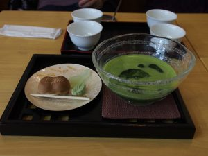 I had iced Ma-cha, a traditional form of tea made from tea leaf powder.