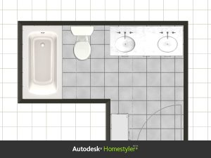 Two main goals to this project was; to have a bathtub, and to remove the wall/door between sink and toilet.