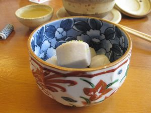 Traditional Japanese dish.  vegetables are simmered in broth for long time to get very soft texture and flavor all the way to inside...