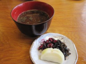 And soup and pickles.  The Miso soup has a small freshwater clams in it and have very good nutrient.