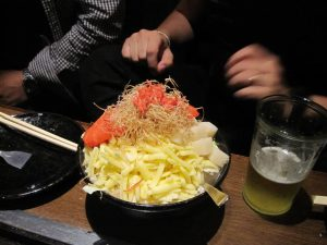 Monja-Yaki is a popular drinking food in Tokyo area, and basically a DIY Hibachi kinda thing..