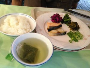 They also had some Japanese breakfast items.  Usually they are, Rice, Miso Soup (not in this picture), Grilled Fish, Pickled vegetables, and egg (not in this picture).  oh, and green tea.