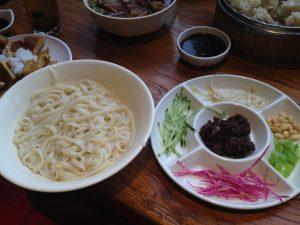 Jar-Jang men  soup-less noodle with meat sauce.